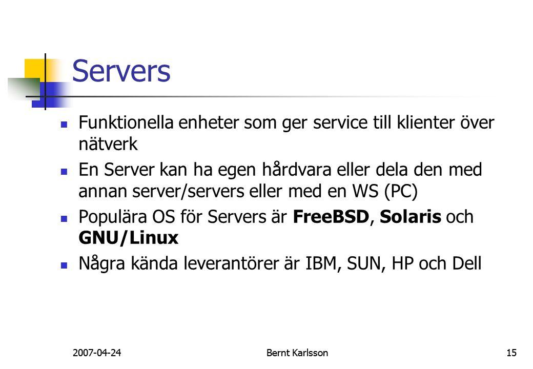 Servers Funktionella enheter som ger service till klienter över nätverk.