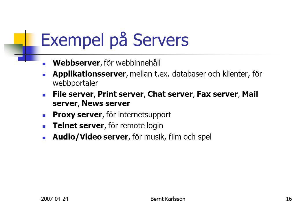 Exempel på Servers Webbserver, för webbinnehåll