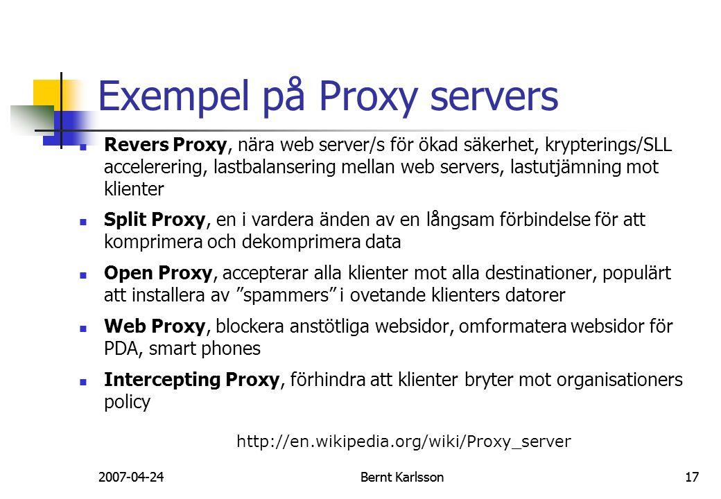 Exempel på Proxy servers