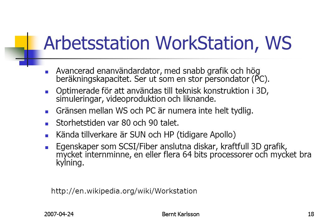 Arbetsstation WorkStation, WS