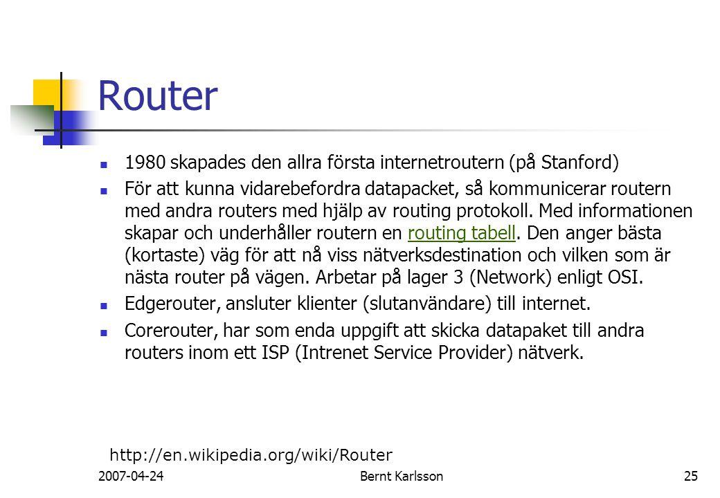 Router 1980 skapades den allra första internetroutern (på Stanford)