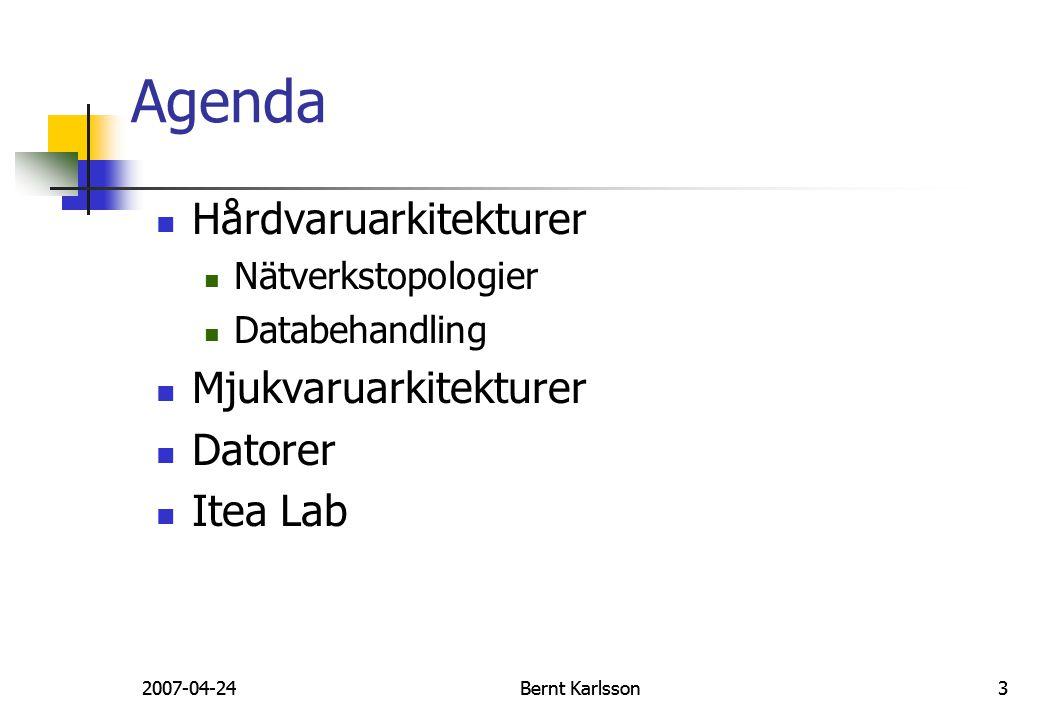Agenda Hårdvaruarkitekturer Mjukvaruarkitekturer Datorer Itea Lab