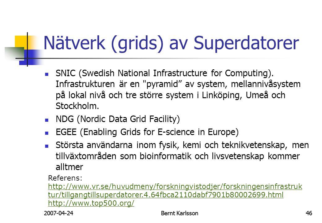 Nätverk (grids) av Superdatorer