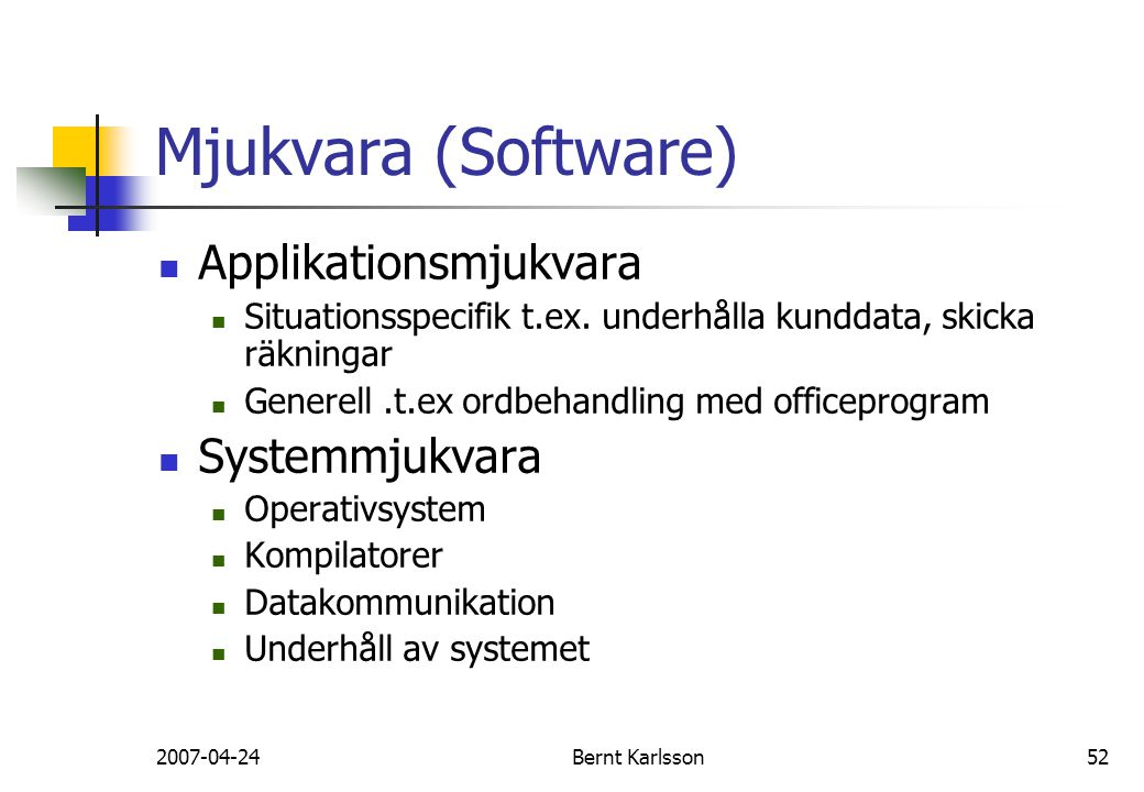 Mjukvara (Software) Applikationsmjukvara Systemmjukvara