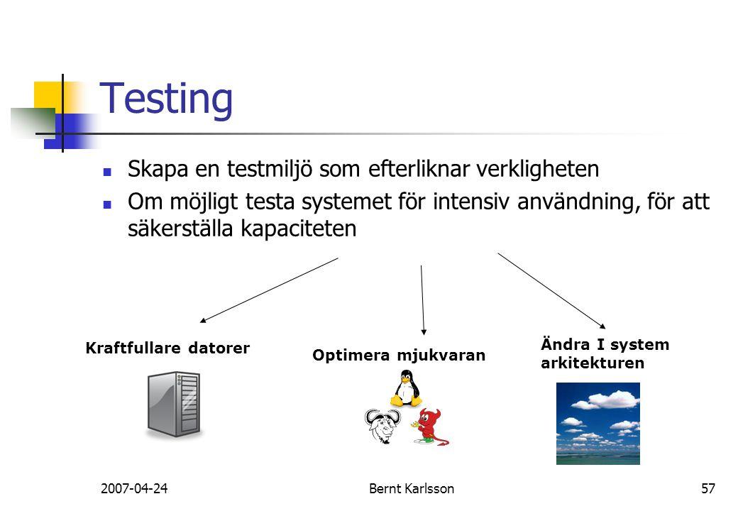 Testing Skapa en testmiljö som efterliknar verkligheten