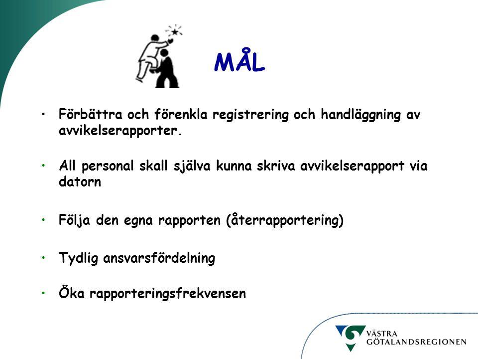 MÅL Förbättra och förenkla registrering och handläggning av avvikelserapporter. All personal skall själva kunna skriva avvikelserapport via datorn.
