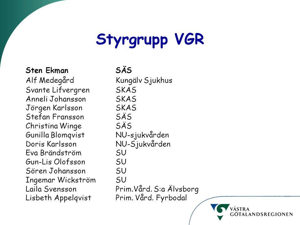 Styrgrupp VGR Sten Ekman SÄS Alf Medegård Kungälv Sjukhus