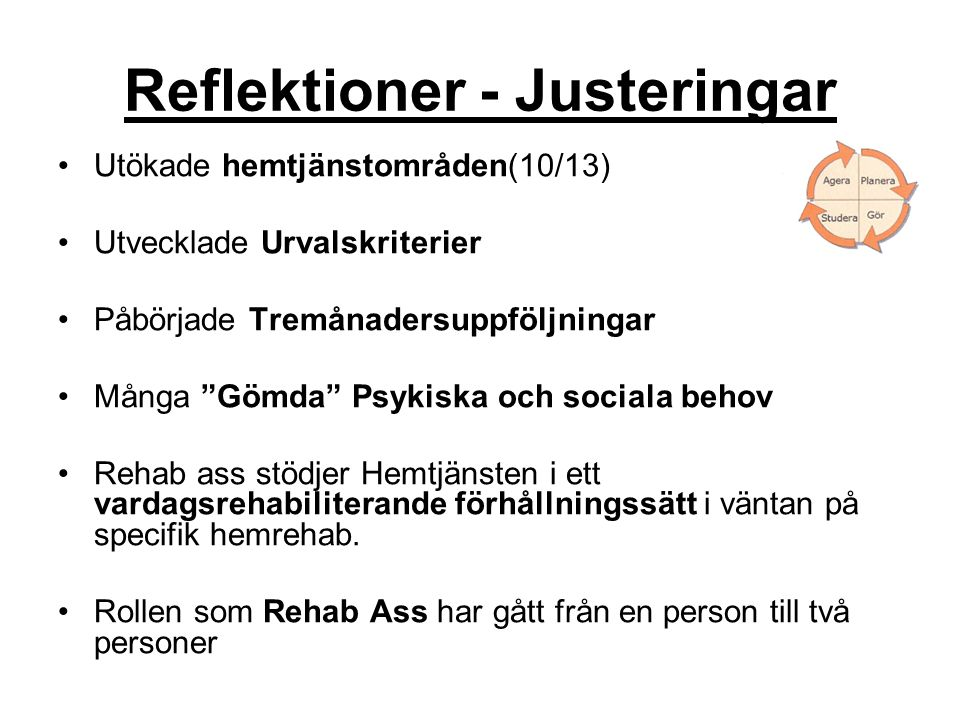 Reflektioner - Justeringar