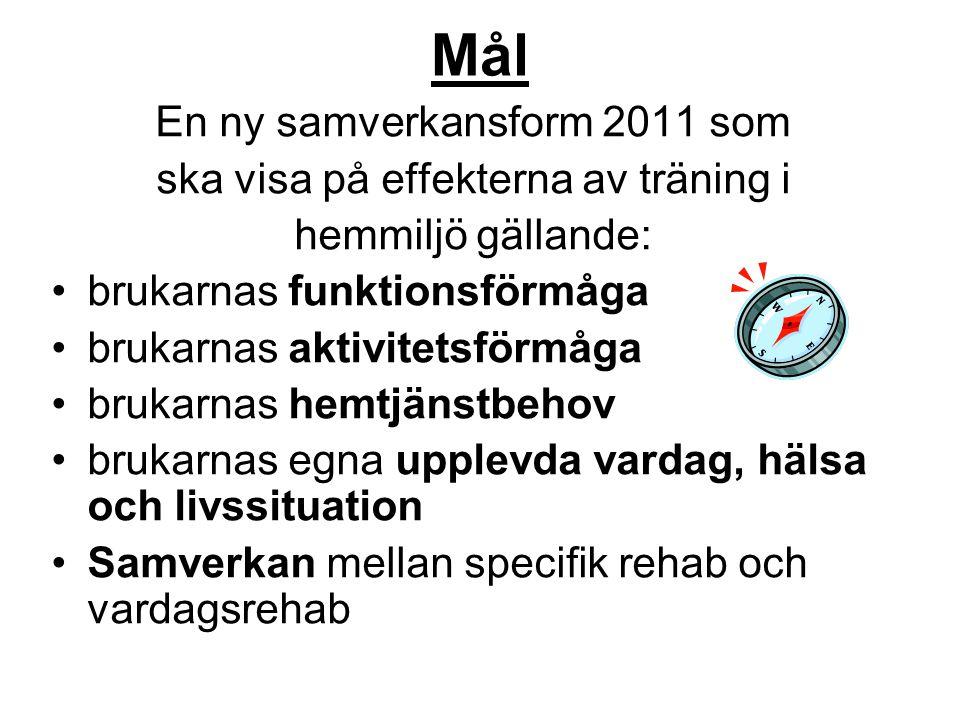 Mål En ny samverkansform 2011 som ska visa på effekterna av träning i