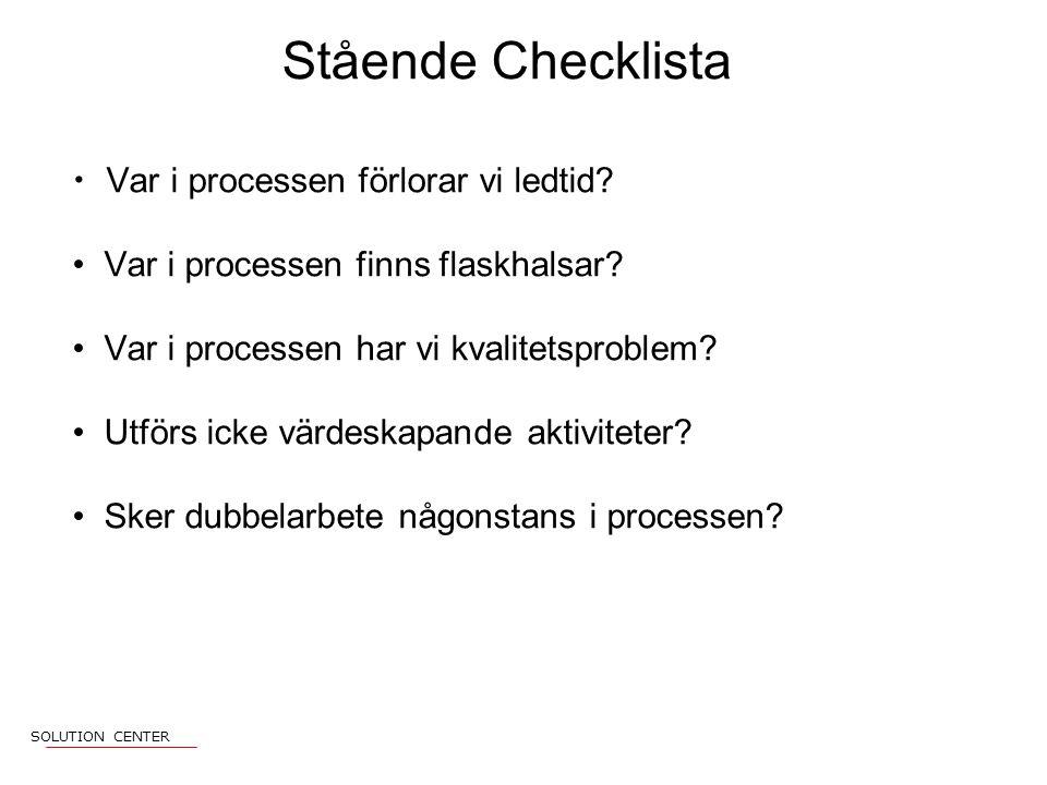 Stående Checklista Var i processen förlorar vi ledtid