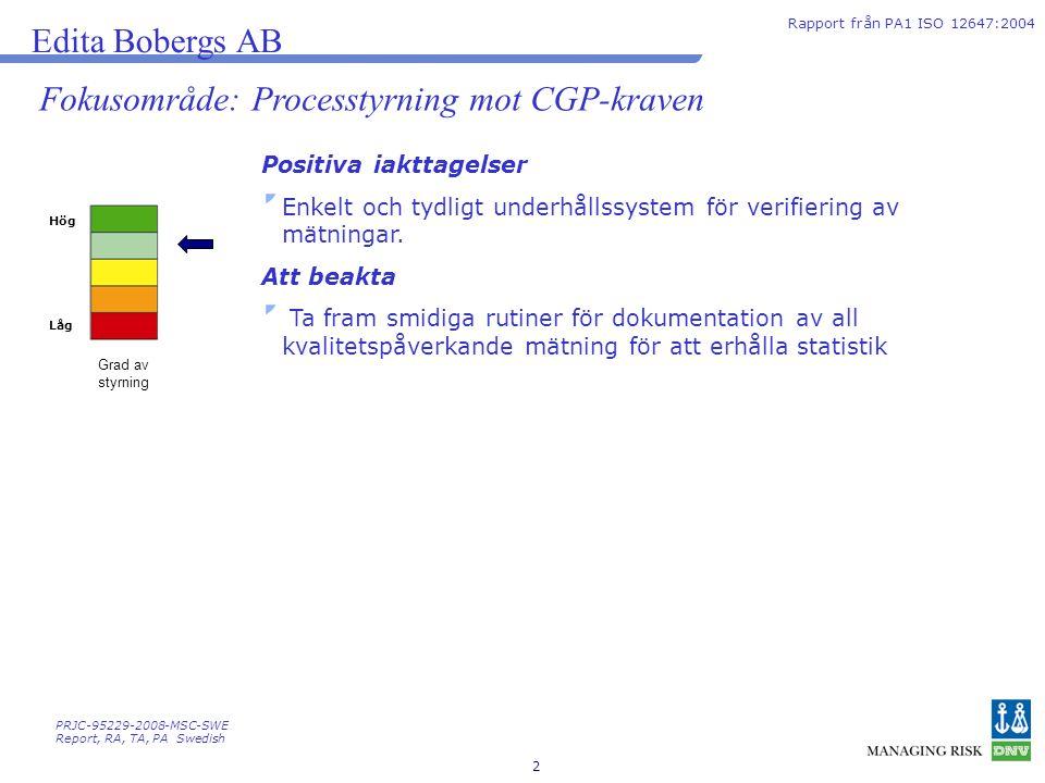 Fokusområde: Processtyrning mot CGP-kraven
