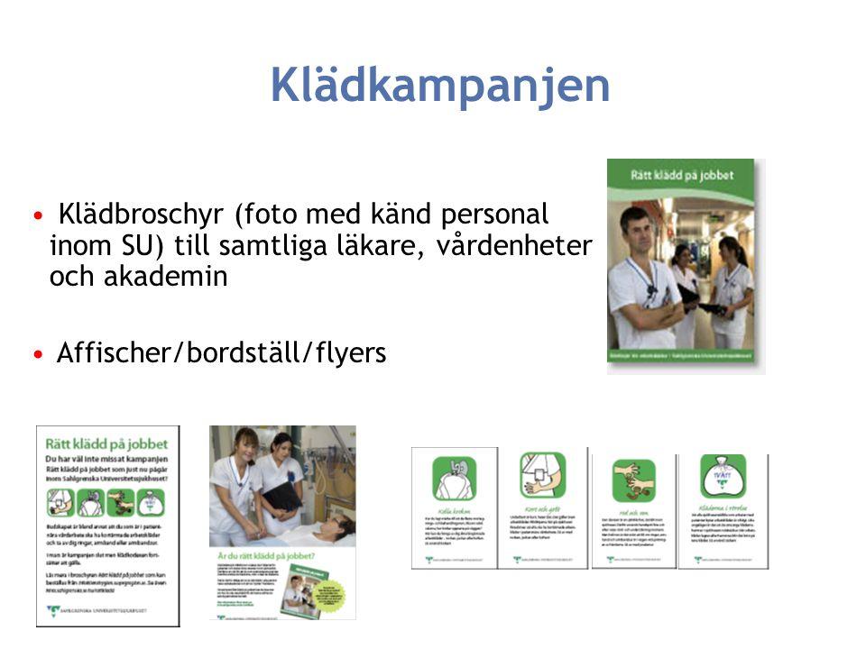 Klädkampanjen Klädbroschyr (foto med känd personal inom SU) till samtliga läkare, vårdenheter och akademin.