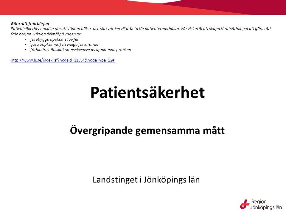 Patientsäkerhet Övergripande gemensamma mått