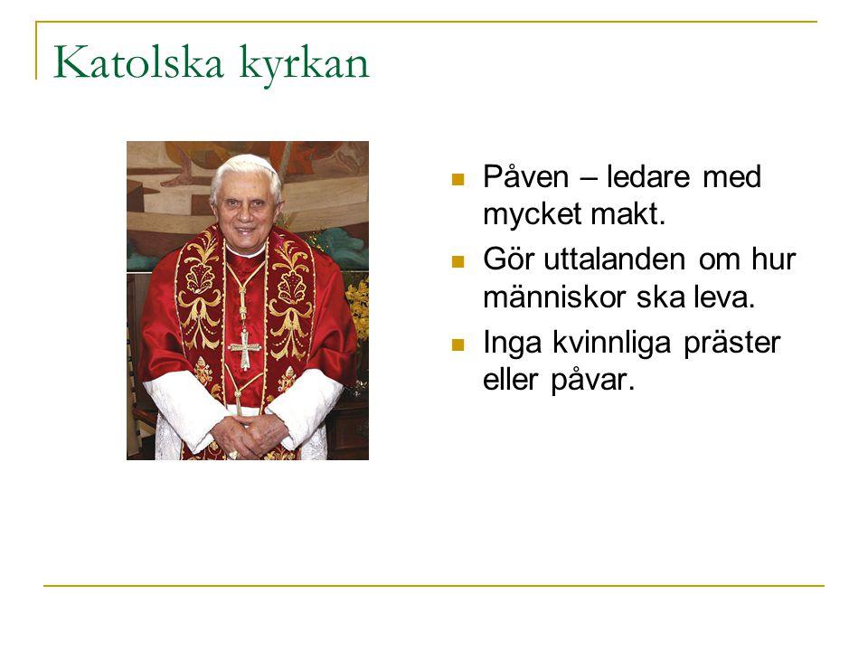Katolska kyrkan Påven – ledare med mycket makt.