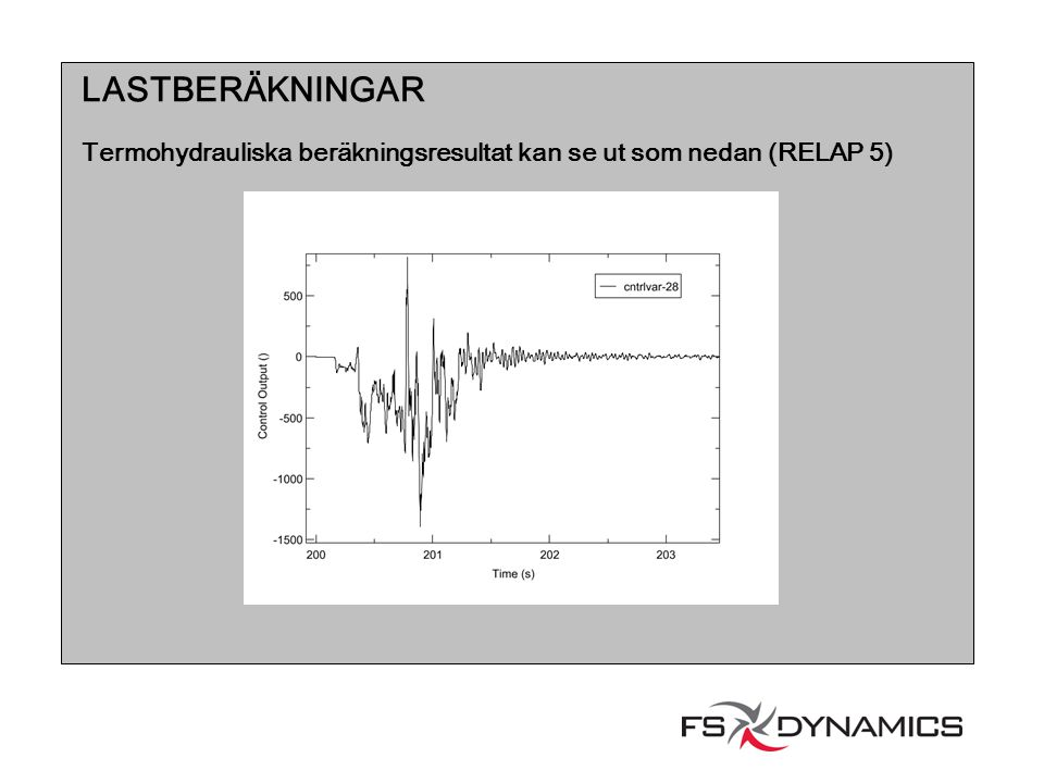 LASTBERÄKNINGAR Termohydrauliska beräkningsresultat kan se ut som nedan (RELAP 5)