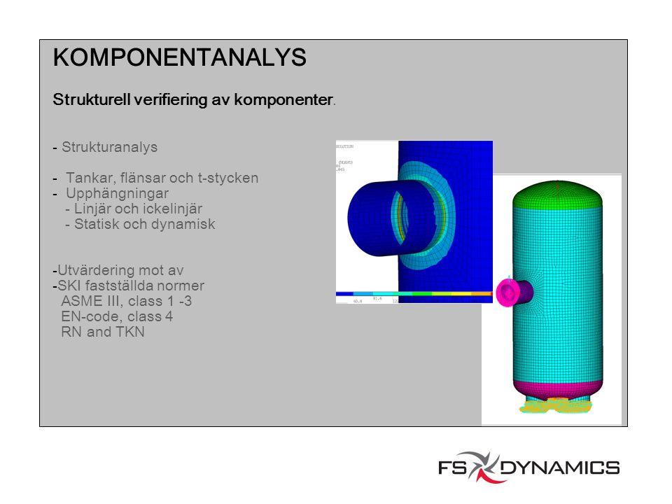 KOMPONENTANALYS Strukturell verifiering av komponenter. Strukturanalys