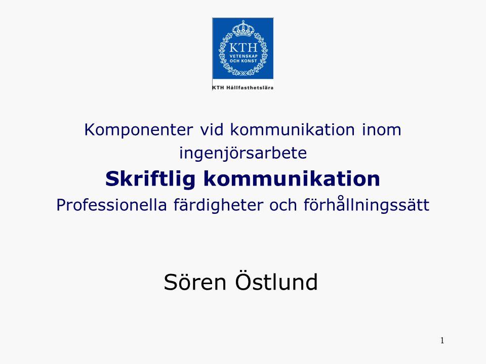 Komponenter vid kommunikation inom ingenjörsarbete Skriftlig kommunikation Professionella färdigheter och förhållningssätt