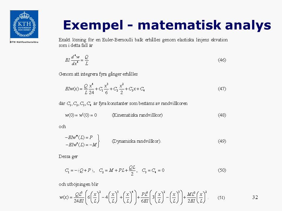 Exempel - matematisk analys