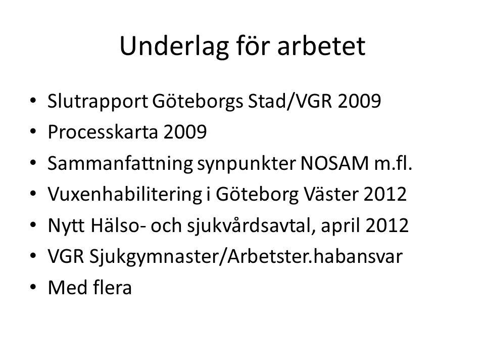 Underlag för arbetet Slutrapport Göteborgs Stad/VGR 2009