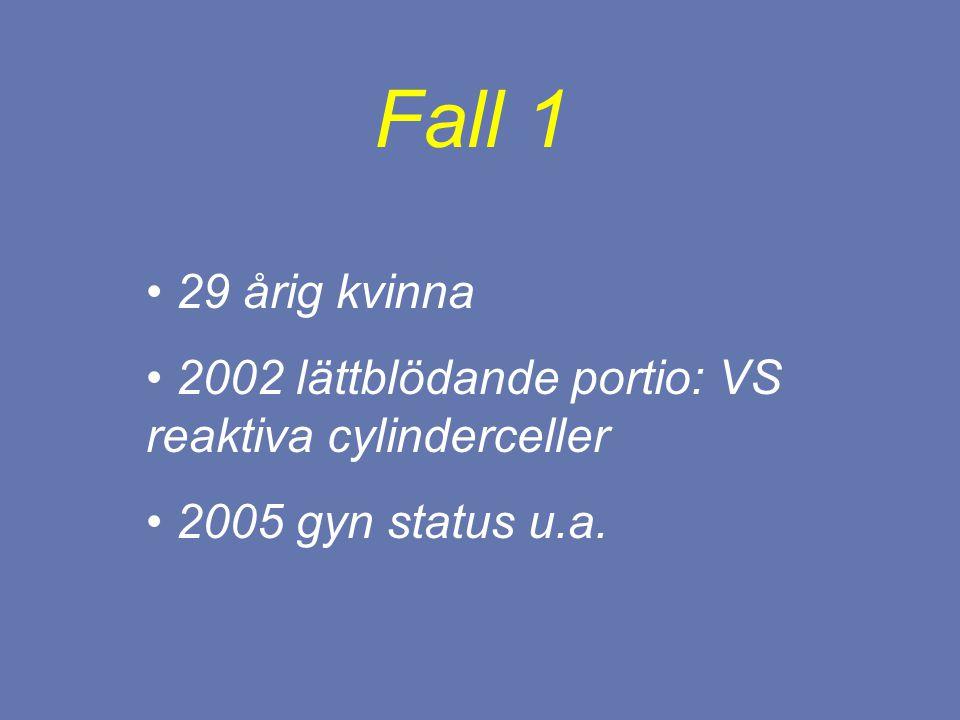 Fall 1 29 årig kvinna 2002 lättblödande portio: VS reaktiva cylinderceller 2005 gyn status u.a.
