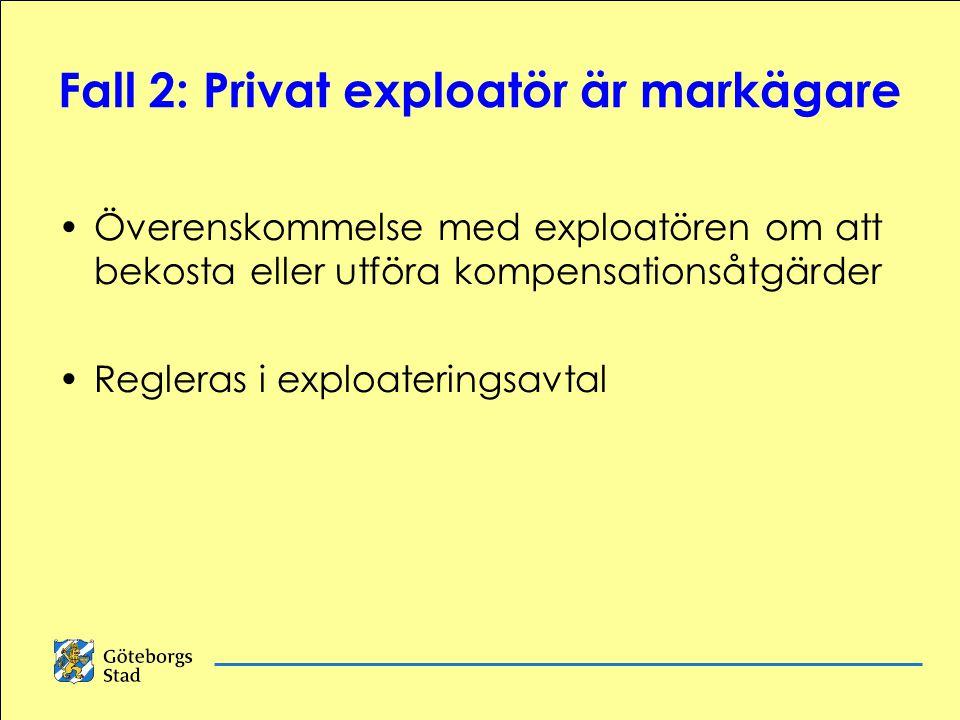 Fall 2: Privat exploatör är markägare