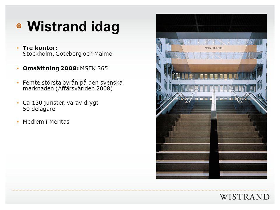 Wistrand idag Tre kontor: Stockholm, Göteborg och Malmö