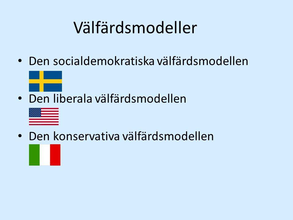 Välfärdsmodeller Den socialdemokratiska välfärdsmodellen