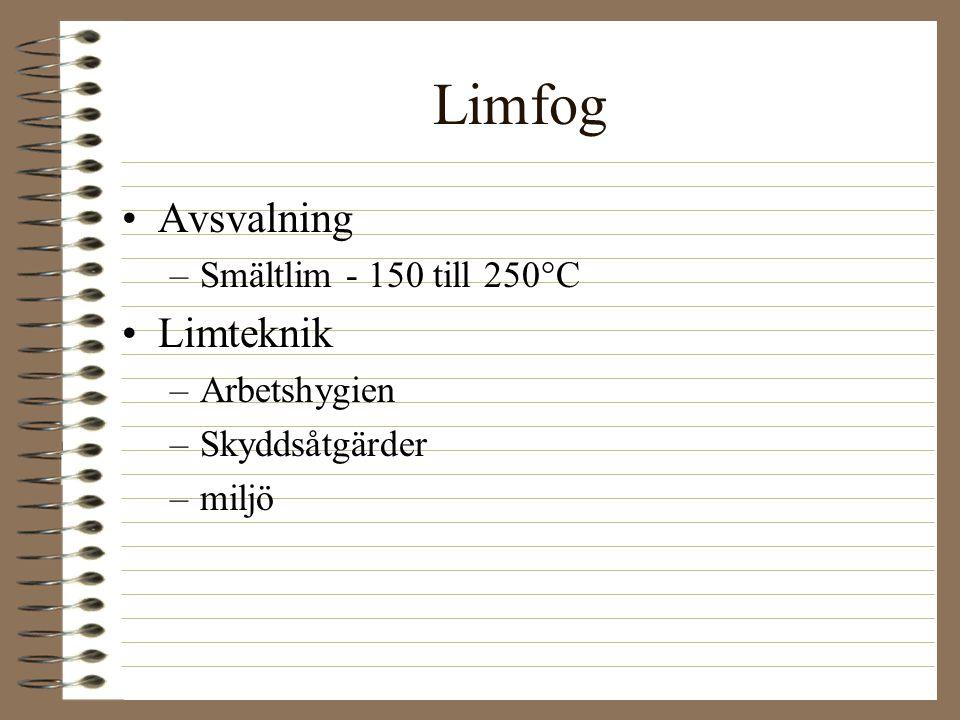 Limfog Avsvalning Limteknik Smältlim - 150 till 250°C Arbetshygien