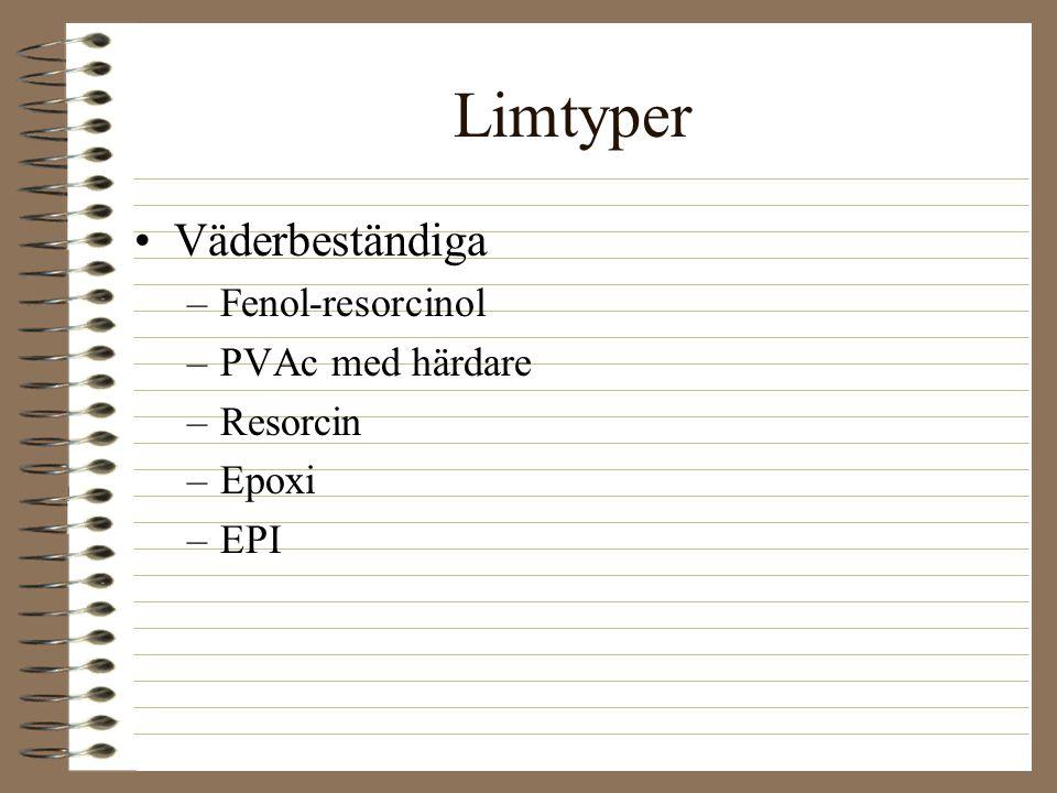 Limtyper Väderbeständiga Fenol-resorcinol PVAc med härdare Resorcin