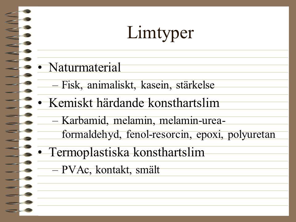 Limtyper Naturmaterial Kemiskt härdande konsthartslim
