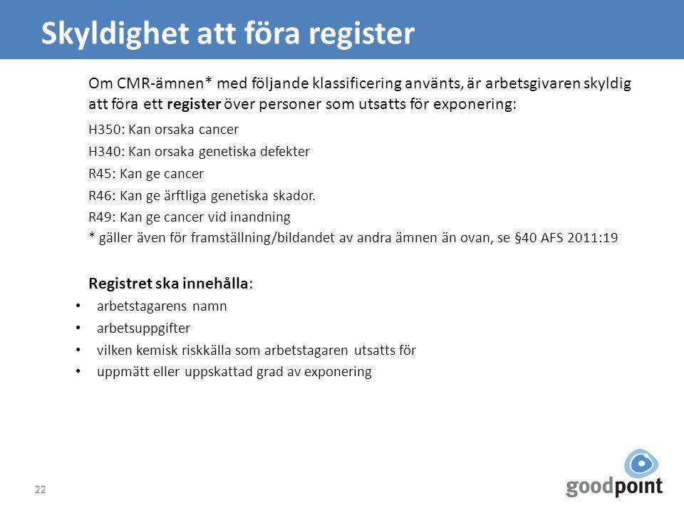 Skyldighet att föra register