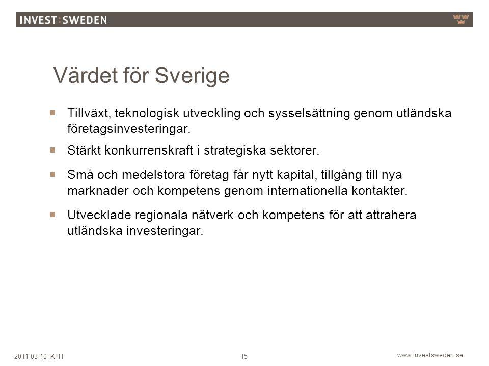 Värdet för Sverige Tillväxt, teknologisk utveckling och sysselsättning genom utländska företagsinvesteringar.