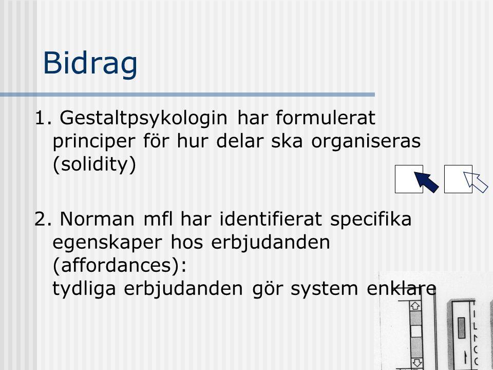Bidrag 1. Gestaltpsykologin har formulerat principer för hur delar ska organiseras (solidity)