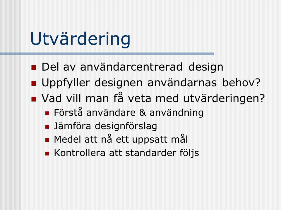 Utvärdering Del av användarcentrerad design