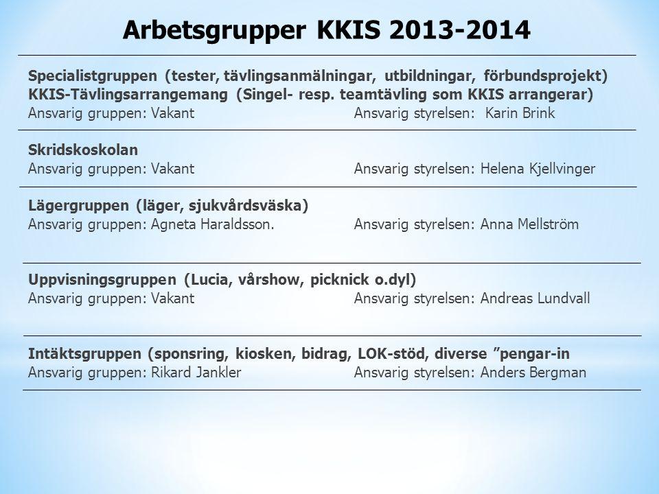 Arbetsgrupper KKIS 2013-2014 Specialistgruppen (tester, tävlingsanmälningar, utbildningar, förbundsprojekt)