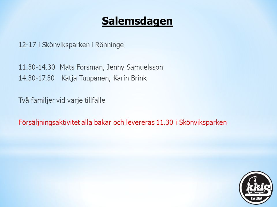 Salemsdagen 12-17 i Skönviksparken i Rönninge