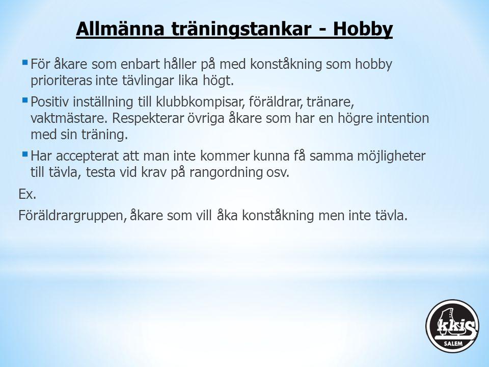 Allmänna träningstankar - Hobby