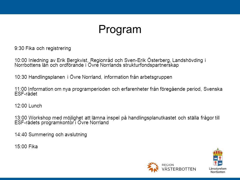 Program 9:30 Fika och registrering
