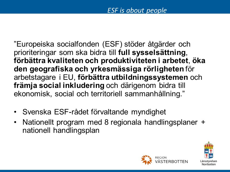 ESF is about people