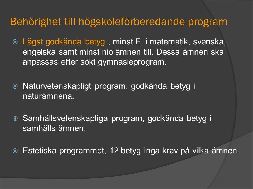 Behörighet till högskoleförberedande program