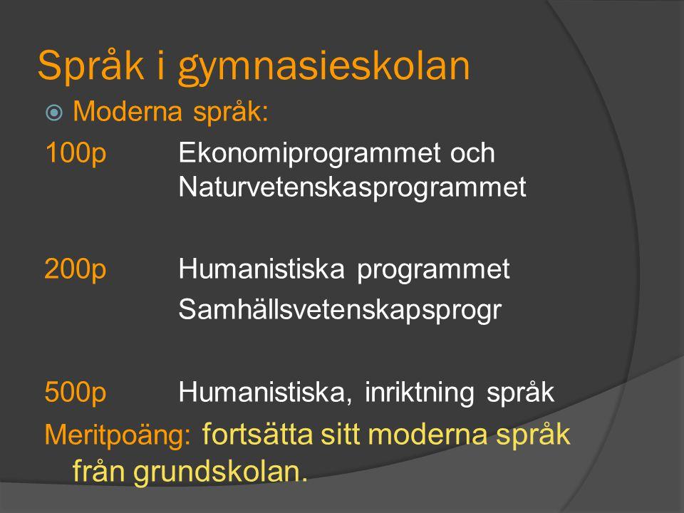 Språk i gymnasieskolan