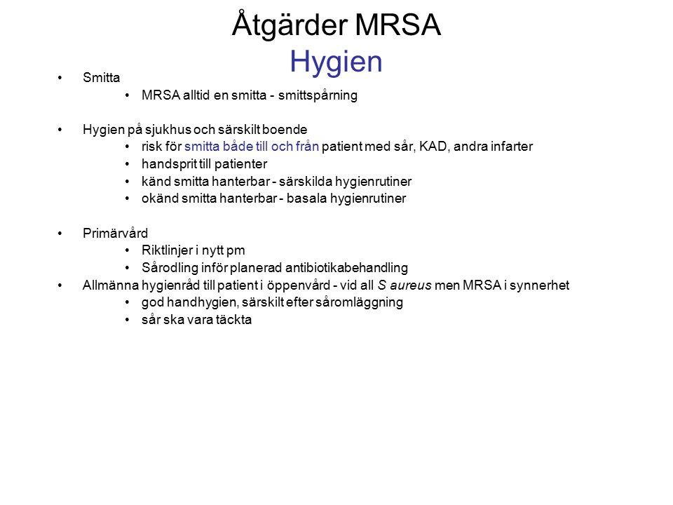 Åtgärder MRSA Hygien Smitta MRSA alltid en smitta - smittspårning