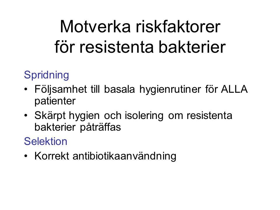 Motverka riskfaktorer för resistenta bakterier