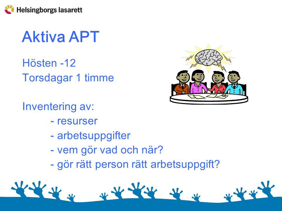 Aktiva APT Hösten -12 Torsdagar 1 timme Inventering av: - resurser - arbetsuppgifter - vem gör vad och när.