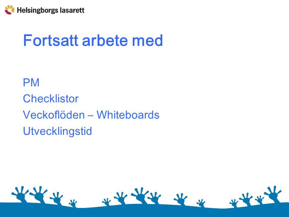 Fortsatt arbete med PM Checklistor Veckoflöden – Whiteboards Utvecklingstid