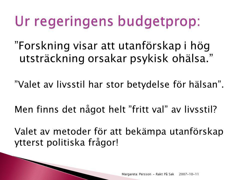 Ur regeringens budgetprop:
