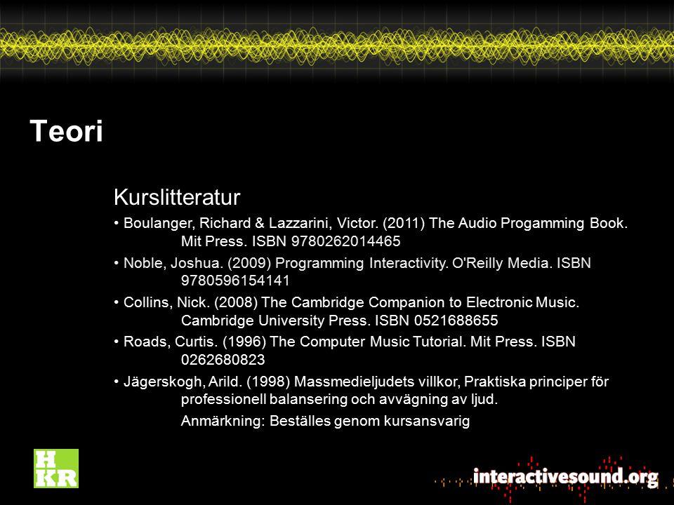 Teori Kurslitteratur. Boulanger, Richard & Lazzarini, Victor. (2011) The Audio Progamming Book. Mit Press. ISBN 9780262014465.