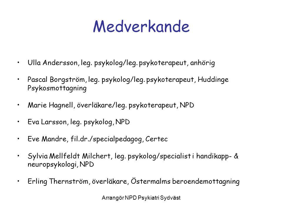 Arrangör NPD Psykiatri Sydväst
