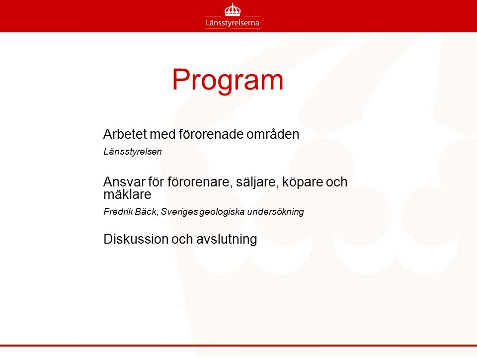 Program Arbetet med förorenade områden