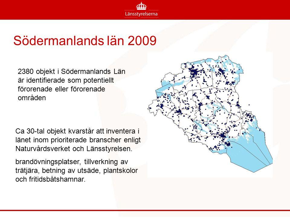 Södermanlands län 2009 2380 objekt i Södermanlands Län är identifierade som potentiellt förorenade eller förorenade områden.